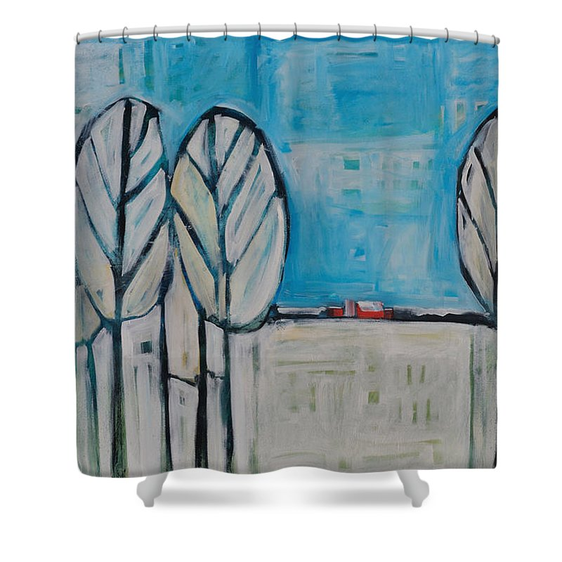 Snow Shower Curtain featuring the painting The First Snow by Tim Nyberg