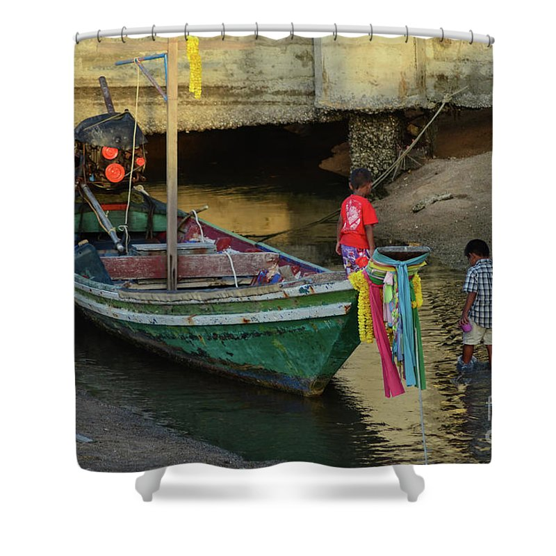 Michelle Meenawong Shower Curtain featuring the photograph The Fisherman's Kids by Michelle Meenawong