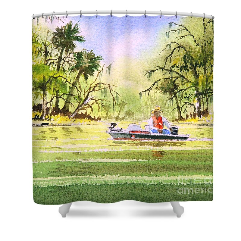 Fishing Shower Curtain featuring the painting The Fishing Is Done - Heading Home by Bill Holkham