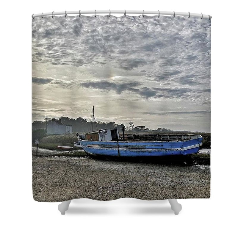Beautiful Shower Curtain featuring the photograph The Fixer-upper, Brancaster Staithe by John Edwards