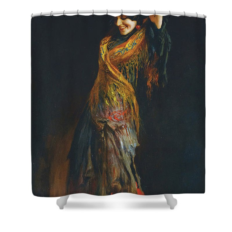 Leopold Schmutzler (austrian Shower Curtain featuring the painting The Flamenco Dancer by MotionAge Designs