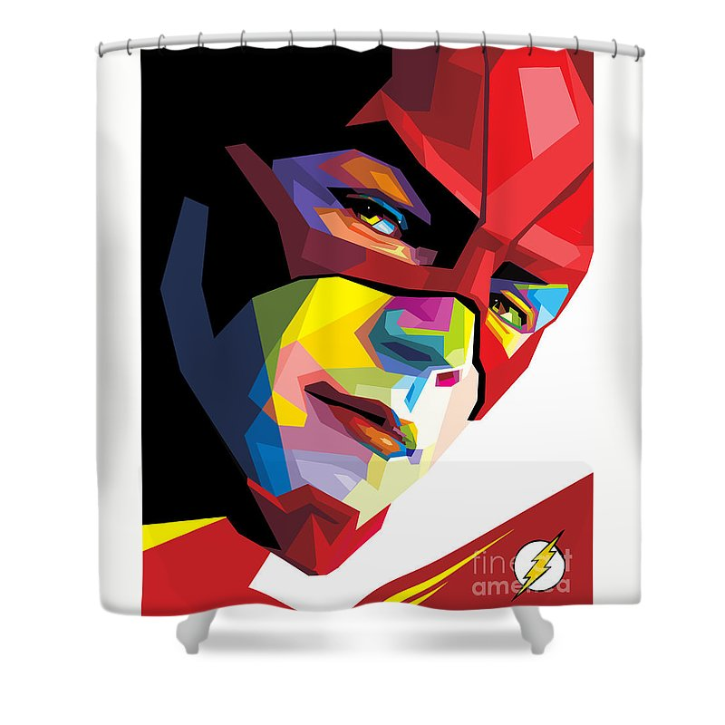 The Flash Shower Curtain Featuring Digital Art Colorful Pop By Madiaz Roby