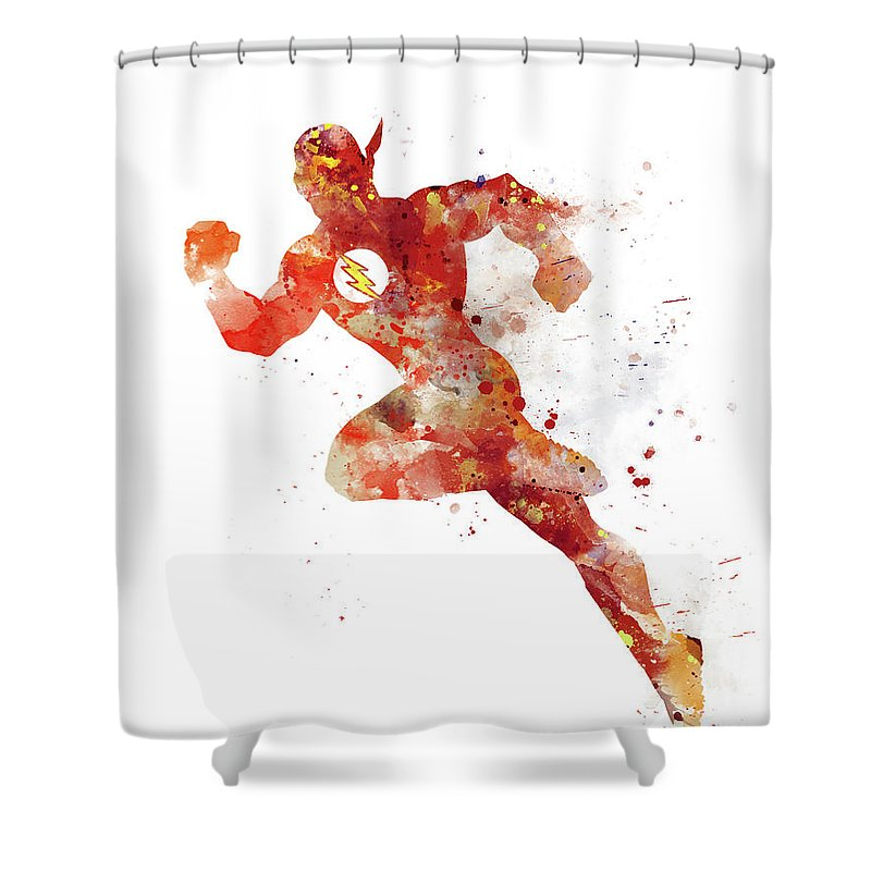 The Flash Shower Curtain Featuring Mixed Media By Monn Print