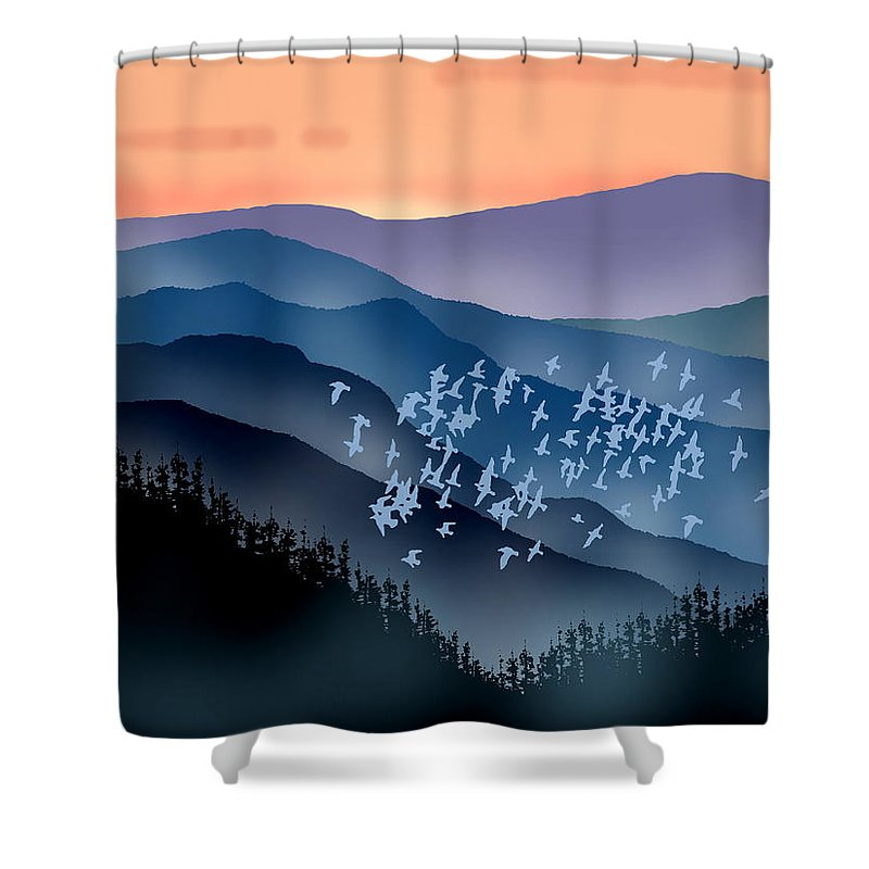 Birds Shower Curtain featuring the painting The Flock by Paul Sachtleben
