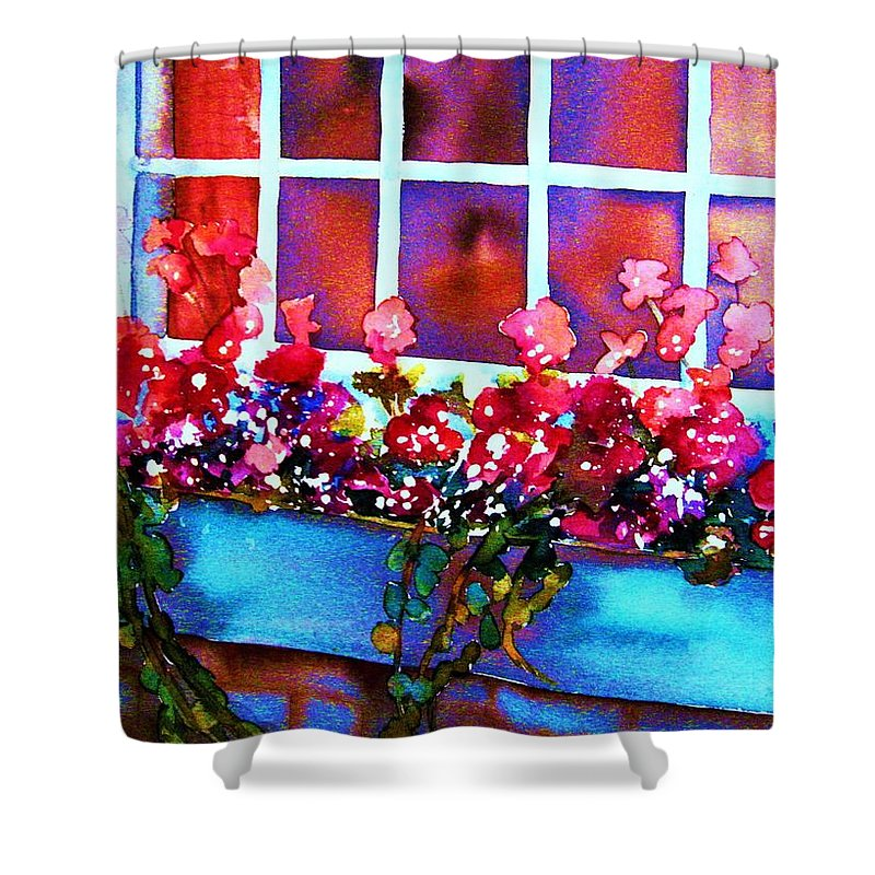 Flowerbox Shower Curtain featuring the painting The Flowerbox by Carole Spandau