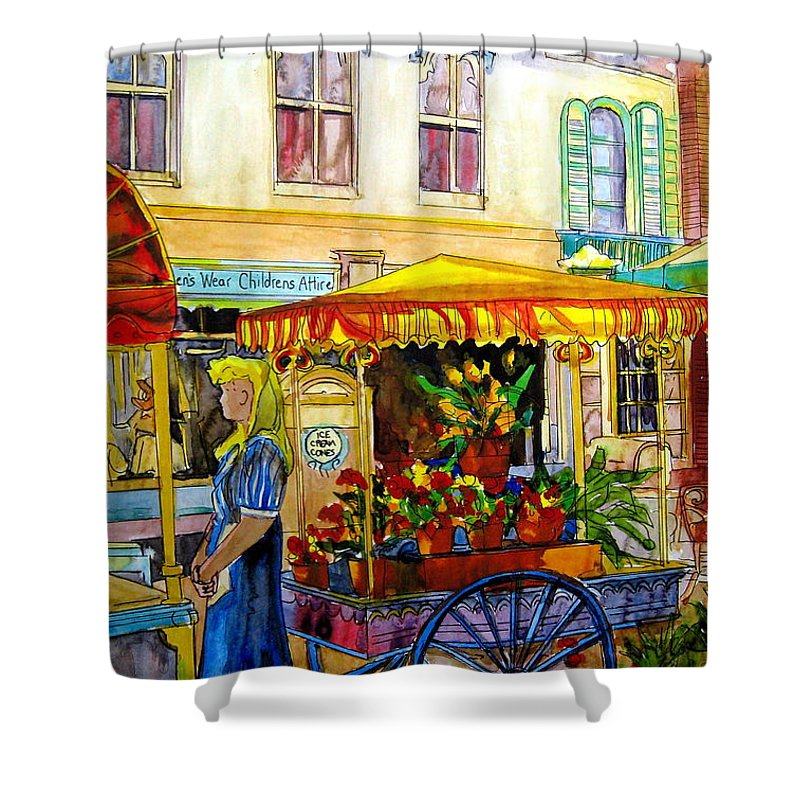 The Flowercart Shower Curtain featuring the painting The Flowercart by Carole Spandau