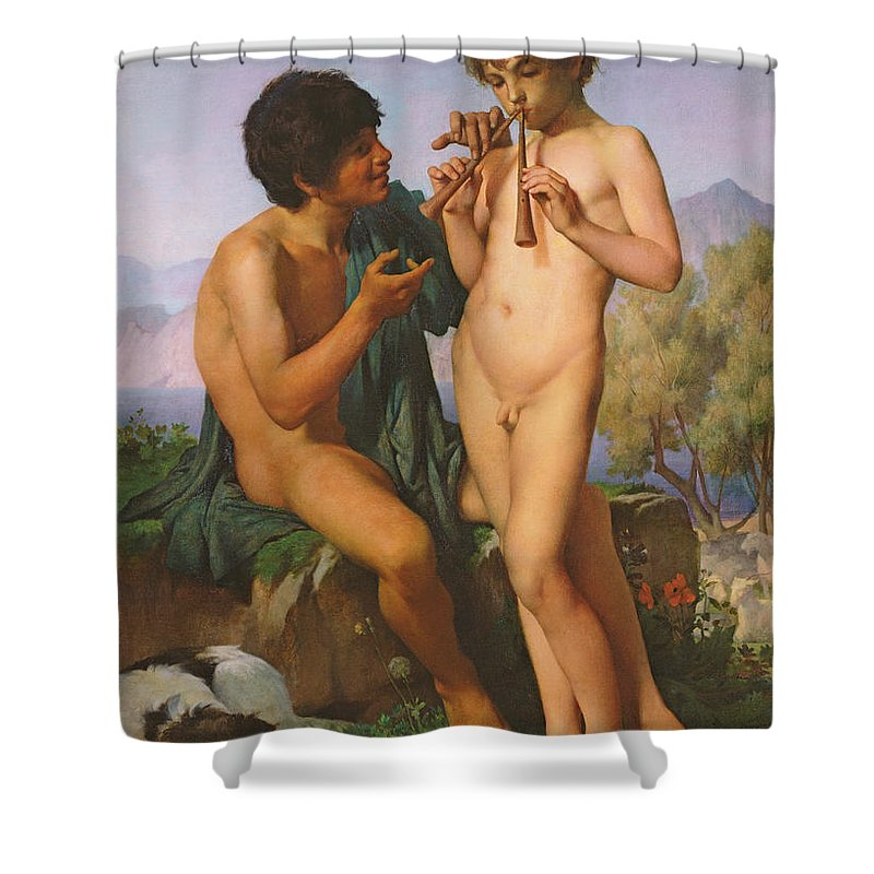 Boy Shower Curtain featuring the painting The Flute Lesson by Jules Elie Delaunay