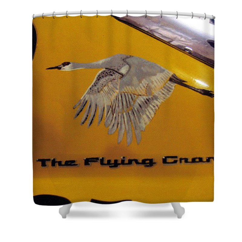 Nascar Shower Curtain featuring the painting The Flying Crane by Richard Le Page