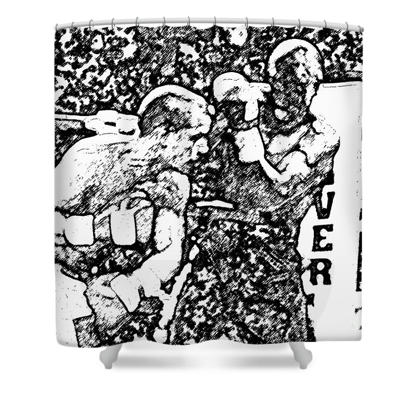 Prize Fighting.boxing Shower Curtain featuring the photograph The Follow Through by David Lee Thompson