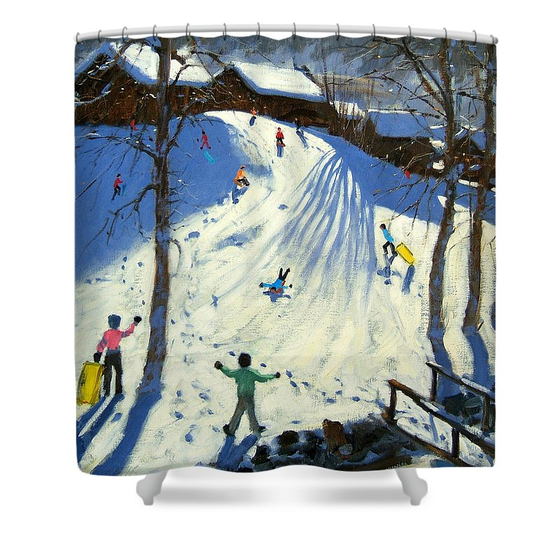 Sledging Shower Curtain featuring the painting The Footbridge by Andrew Macara