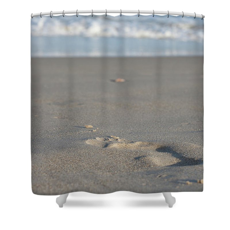 Outdoor Shower Curtain featuring the photograph The Footprint Of Invisible Man The Sand And The Sea by Yoel Koskas