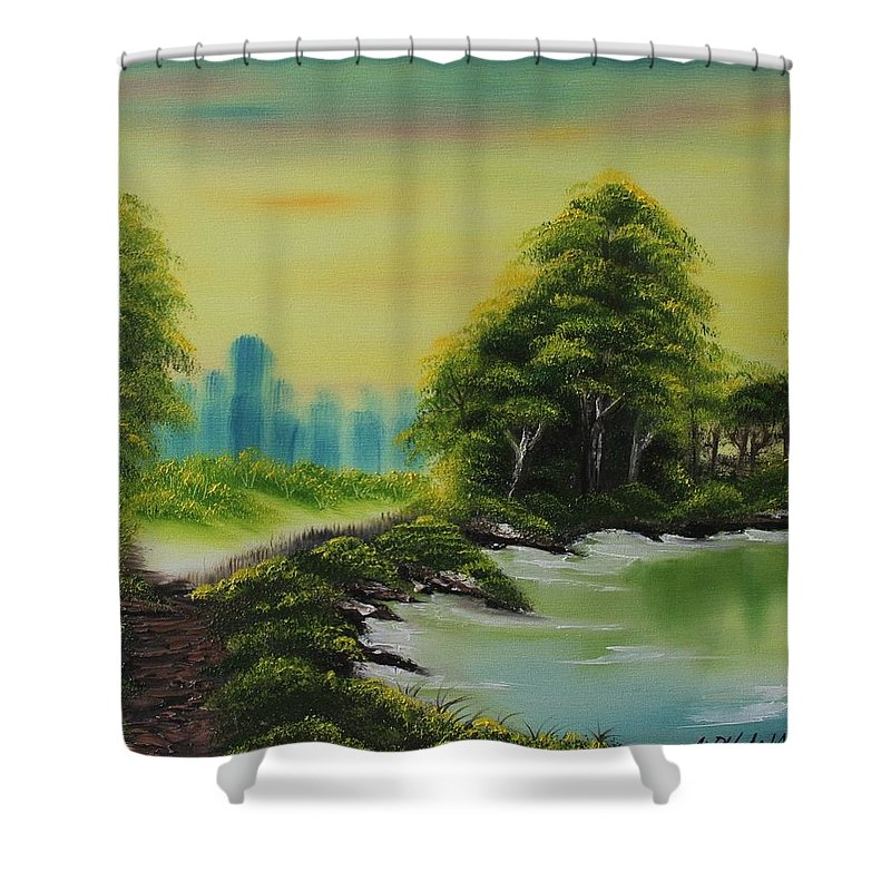 Trees Shower Curtain featuring the painting The Forest by Nadine Westerveld