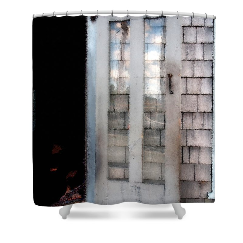 Door Shower Curtain featuring the painting The Forge And The Ship by RC DeWinter