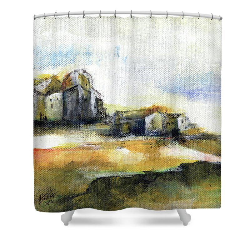 Abstract Landscape Shower Curtain featuring the painting The Fortress by Aniko Hencz