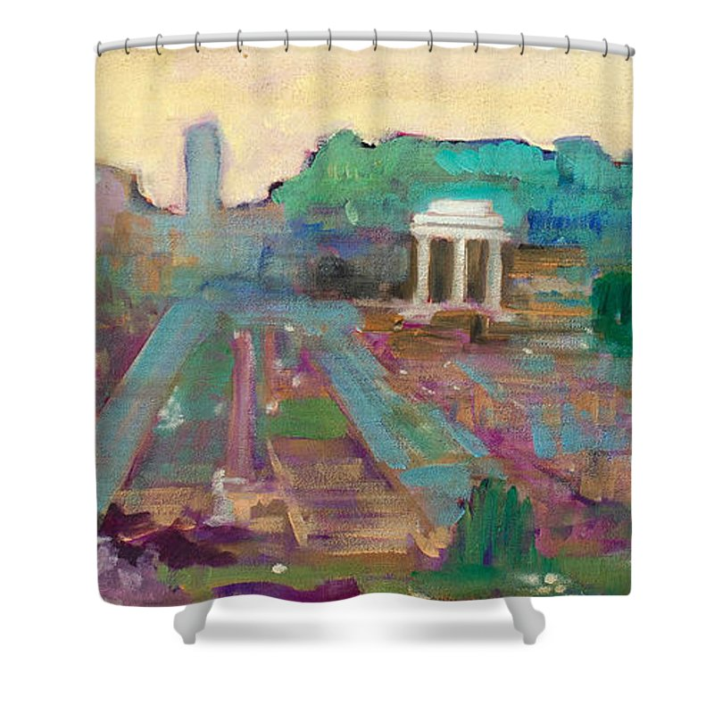 Rome Shower Curtain featuring the painting The Forum Romanum by Kurt Hausmann