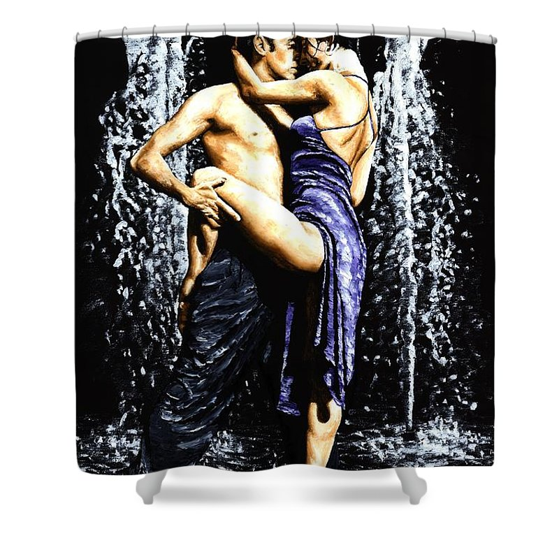 Tango Shower Curtain featuring the painting The Fountain Of Tango by Richard Young
