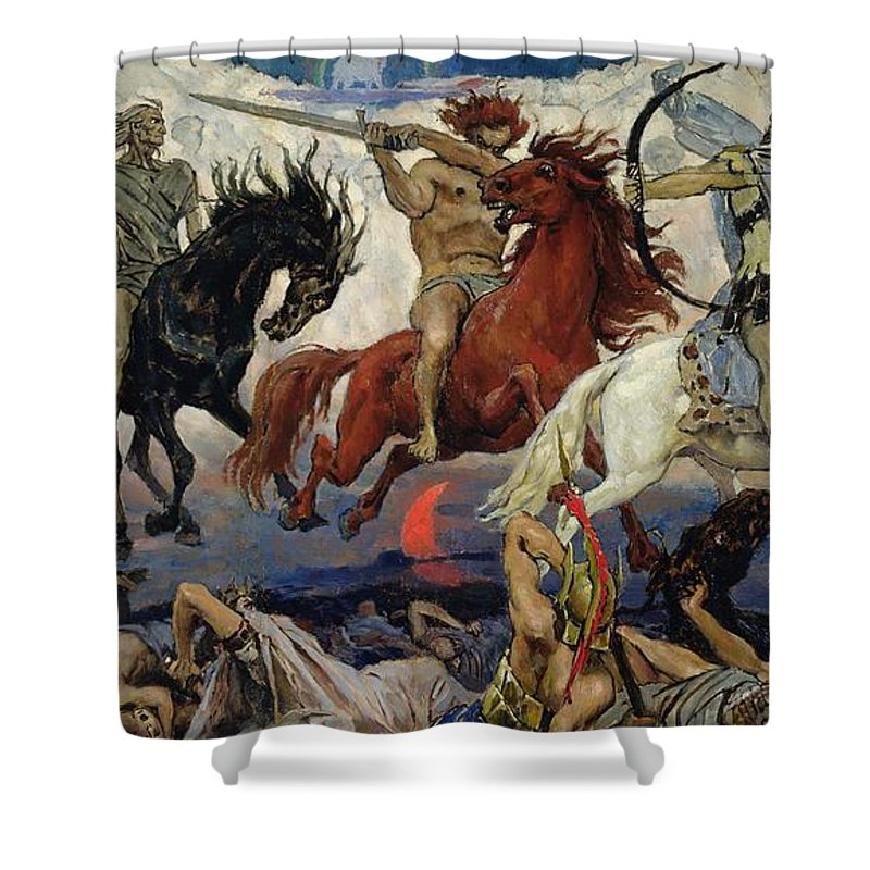 The Shower Curtain featuring the painting The Four Horsemen Of The Apocalypse by Victor Mikhailovich Vasnetsov