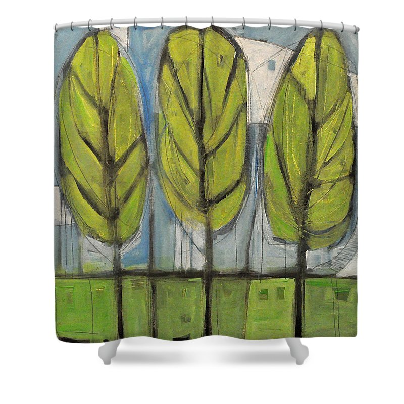 Trees Shower Curtain featuring the painting the Four Seasons - spring by Tim Nyberg