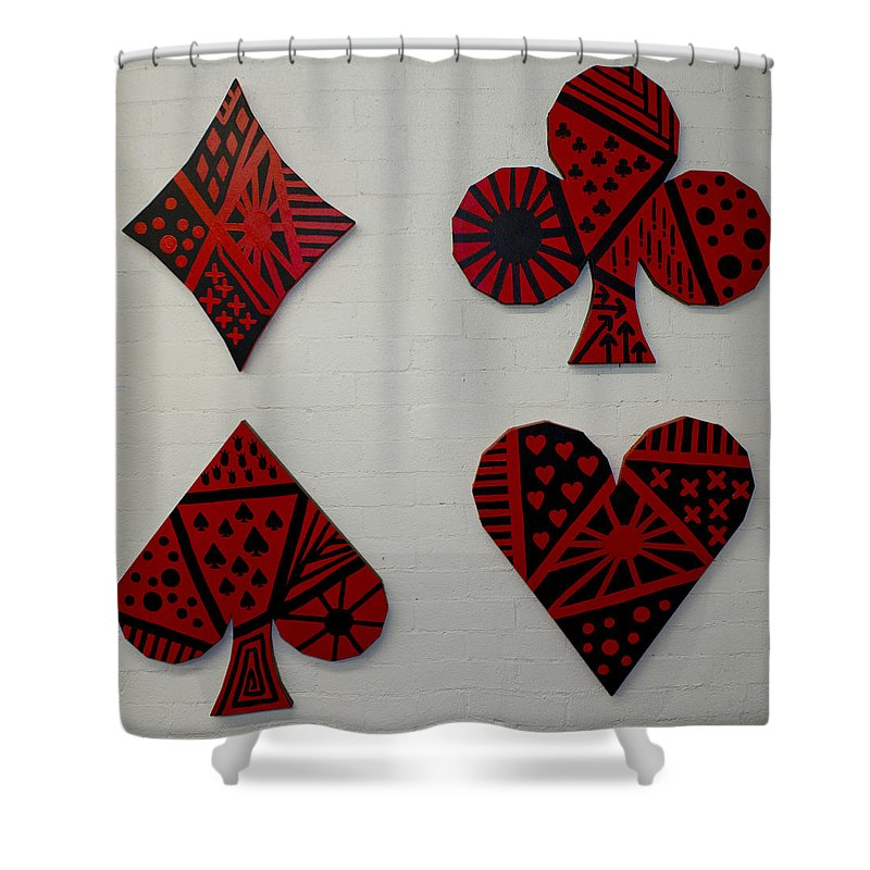 Poker Shower Curtain featuring the painting The Four Suits by Bodlar