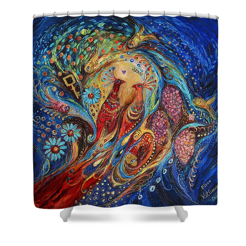 Modern Jewish Art Shower Curtain featuring the painting The Fragrance Of Night by Elena Kotliarker