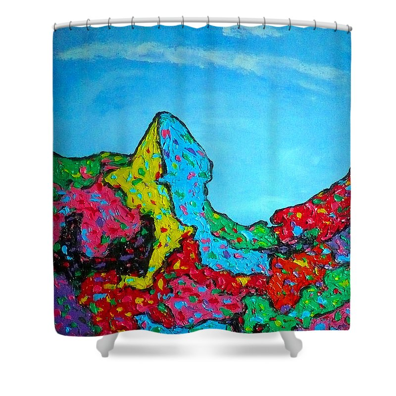 Abstract Shower Curtain featuring the painting The Frog by Ericka Herazo