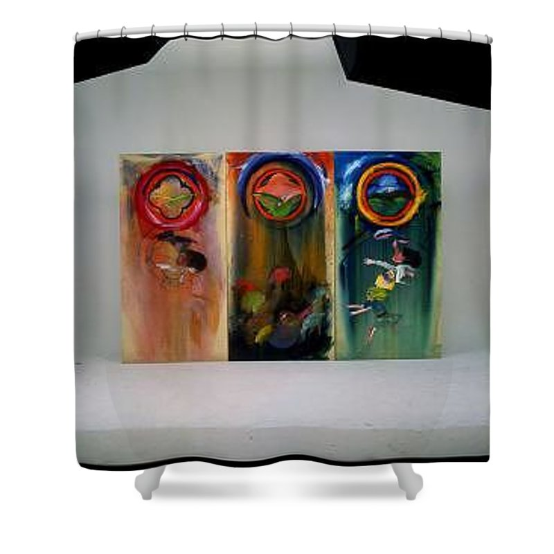 Fall From Grace Shower Curtain featuring the painting The Fruit Machine Stops by Charles Stuart