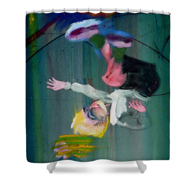 Fall Shower Curtain featuring the painting The Fruit Machine Stops Detail by Charles Stuart