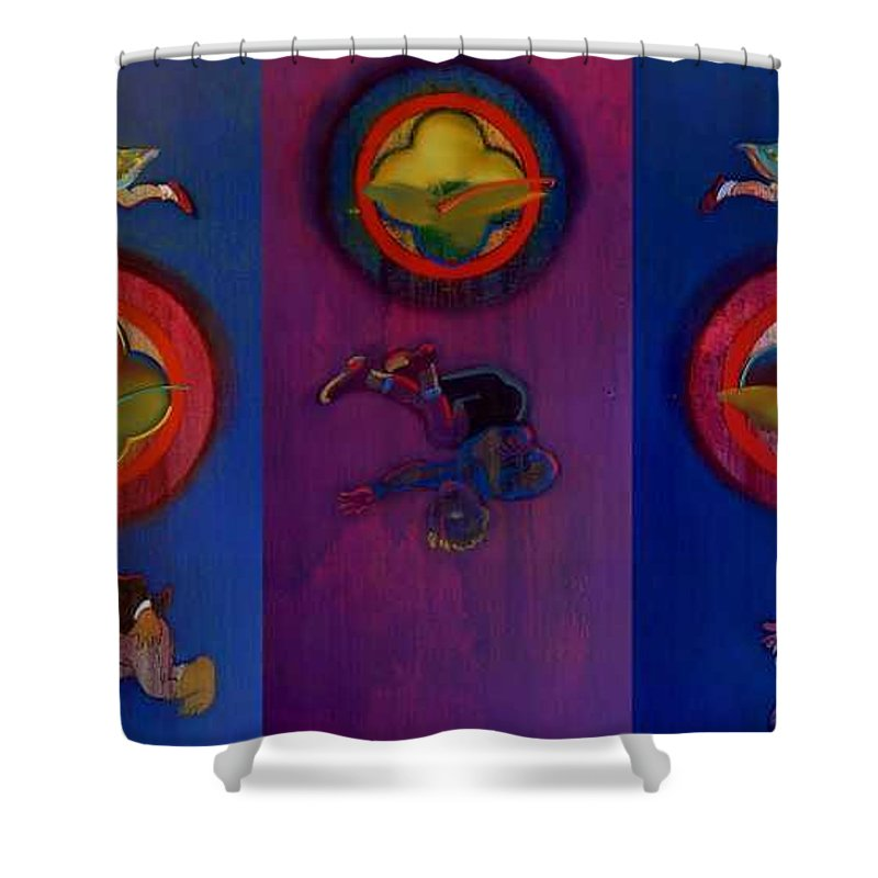 The Drums Of The Fruit Machine Stop At Random. Triptych Shower Curtain featuring the painting The Fruit Machine Stops II by Charles Stuart