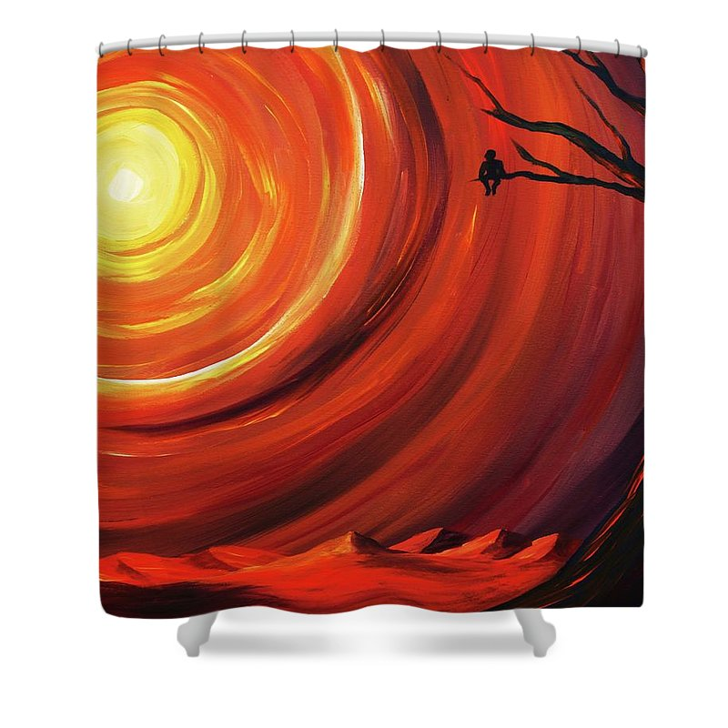 Landscape Shower Curtain featuring the painting The Fruit Of Persistence by Angel Reyes