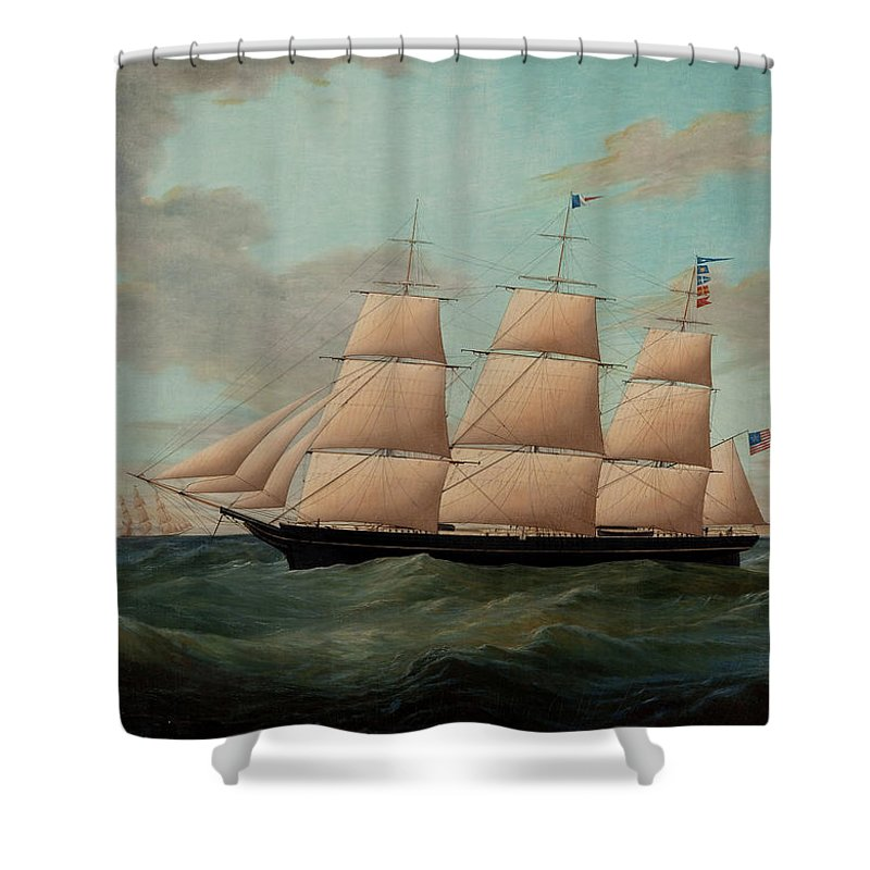 James Edward Buttersworth Shower Curtain featuring the painting The Fullrigger The American by James Edward Buttersworth