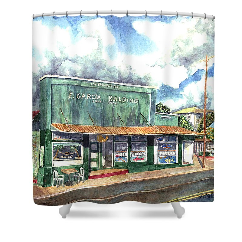 Maui Shower Curtain featuring the painting The Garcia Building by Eric Samuelson
