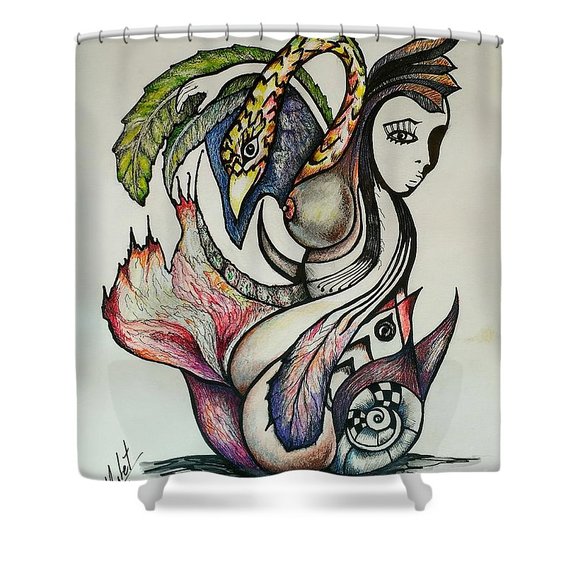 Nude Shower Curtain featuring the drawing The Garden #1 by Juan Carlos Mulet