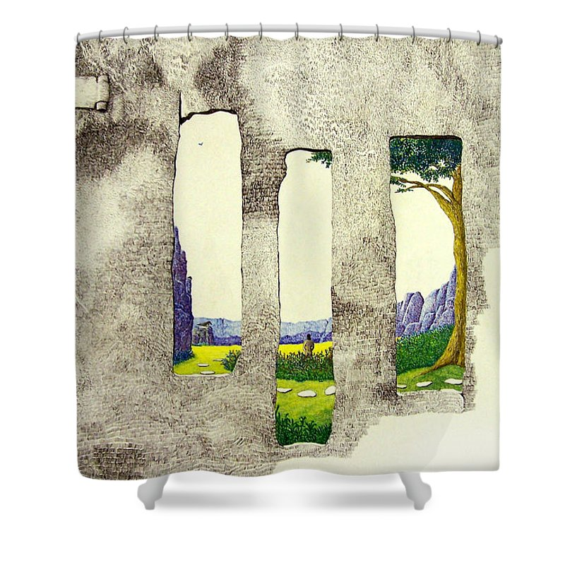 Imaginary Landscape. Shower Curtain featuring the painting The Garden by A Robert Malcom