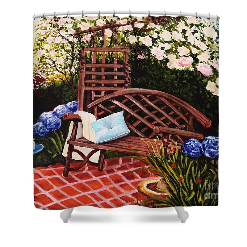 Landscape Shower Curtain featuring the painting The Garden by Elizabeth Robinette Tyndall
