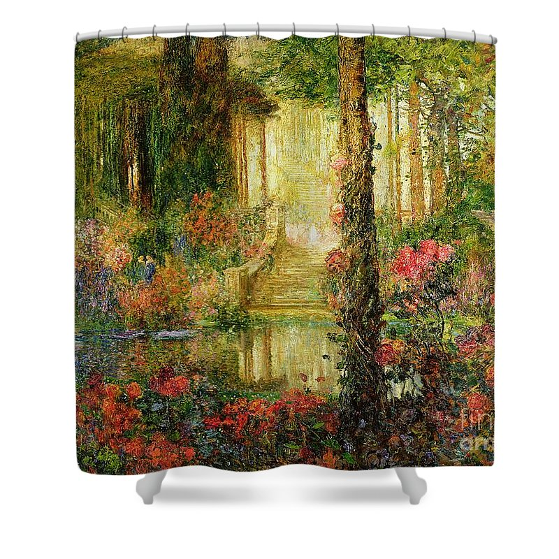 The Shower Curtain featuring the painting The Garden Of Enchantment by Thomas Edwin Mostyn
