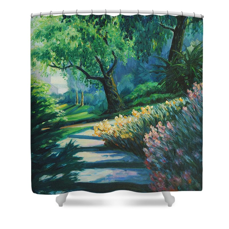 Trees Shower Curtain featuring the painting The Garden by Rick Nederlof
