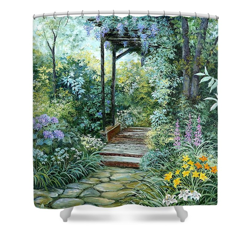 Oil Painting;wisteria;garden Path;lilies;garden;flowers;trellis;trees;stones;pergola;vines; Shower Curtain featuring the painting The Garden Triptych Right Side by Lois Mountz