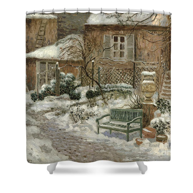 The Shower Curtain featuring the painting The Garden Under Snow by Eugene Chigot