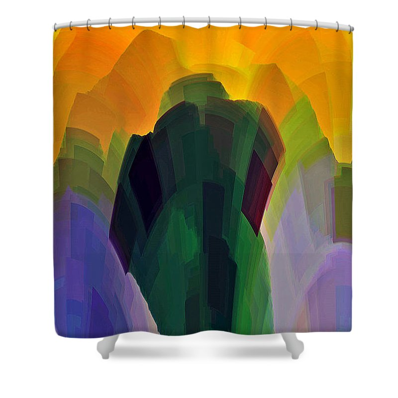 Garden Shower Curtain featuring the digital art The Gardener by Shelley Jones