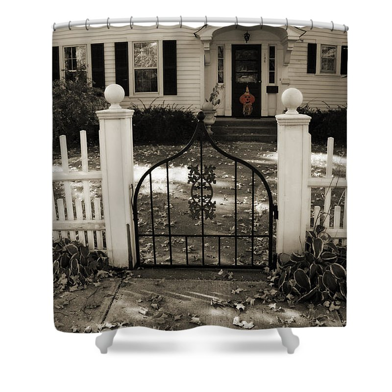 Fall Shower Curtain featuring the photograph The Gate The Pumkin by Joanne Coyle