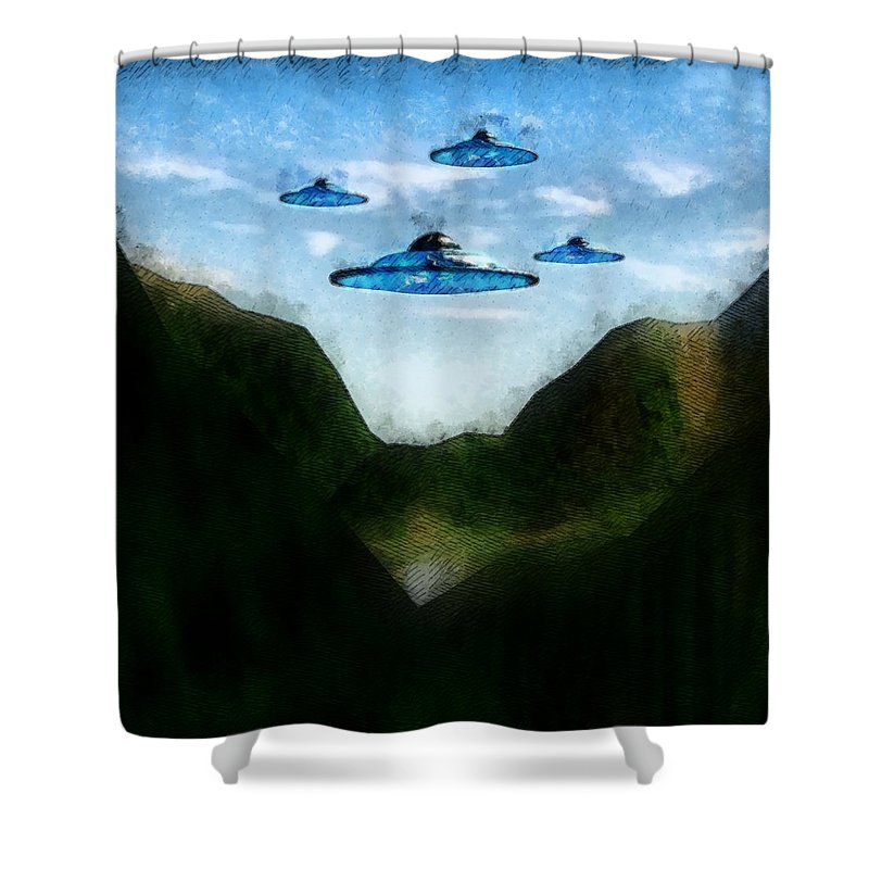 Ufo Shower Curtain featuring the painting The Gathering by Raphael Terra