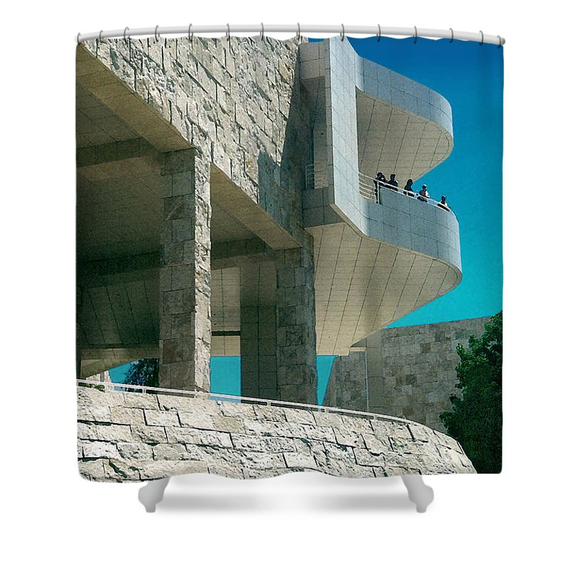 Architecture Shower Curtain featuring the photograph The Getty Panel Three From Triptych by Steve Karol