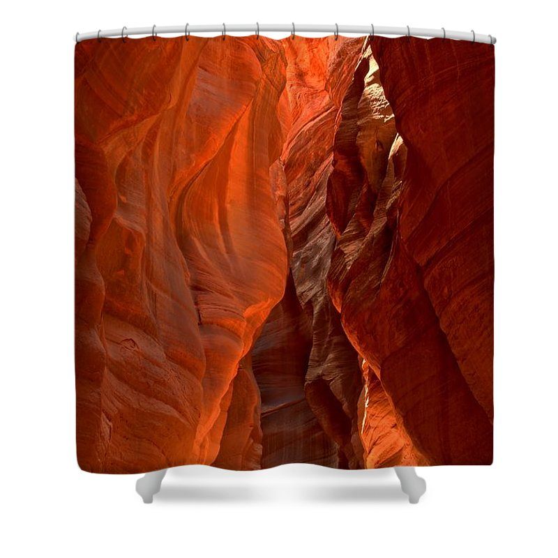 Slot Canyon Shower Curtain featuring the photograph The Giant Room by Adam Jewell