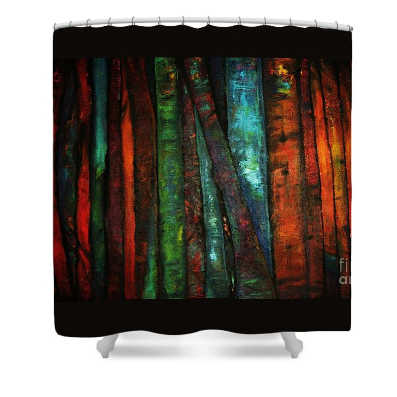 Trees Shower Curtain featuring the painting The Giants Two by Sidra Myers