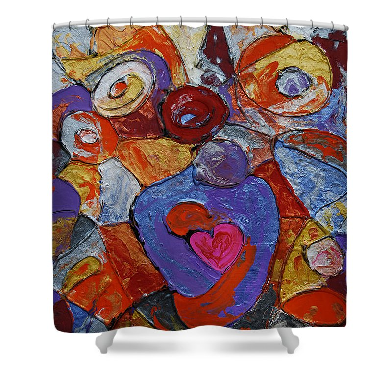 Abstract Shower Curtain featuring the painting The Gift by Erika Avery