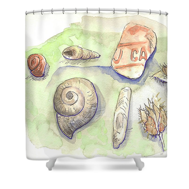 Snail Shower Curtain featuring the painting The Gifts Of The Mountain River by Yana Sadykova