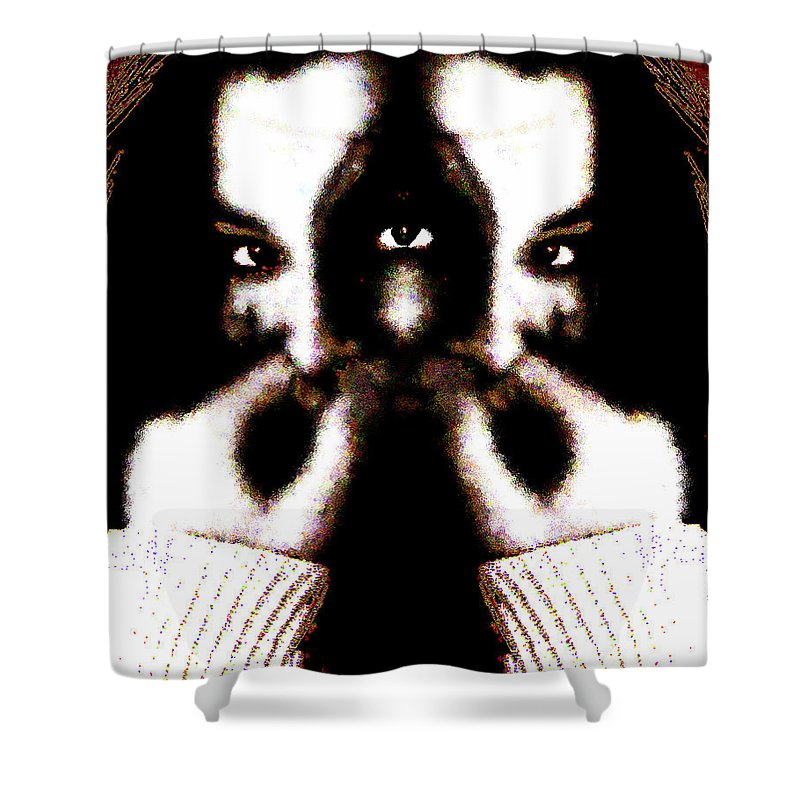 The Giggler Shower Curtain featuring the digital art The Giggler by Seth Weaver