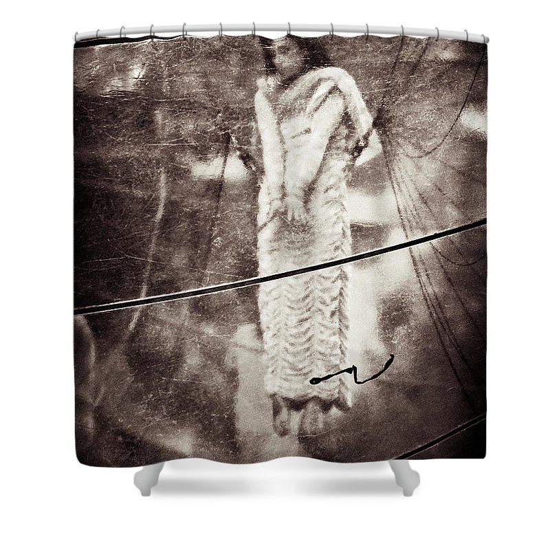 Girl Shower Curtain featuring the photograph The Girl In The Bubble by Dave Bowman
