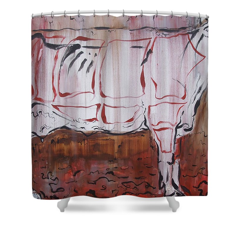 Cow Shower Curtain featuring the painting The Giver by Julie Fischer