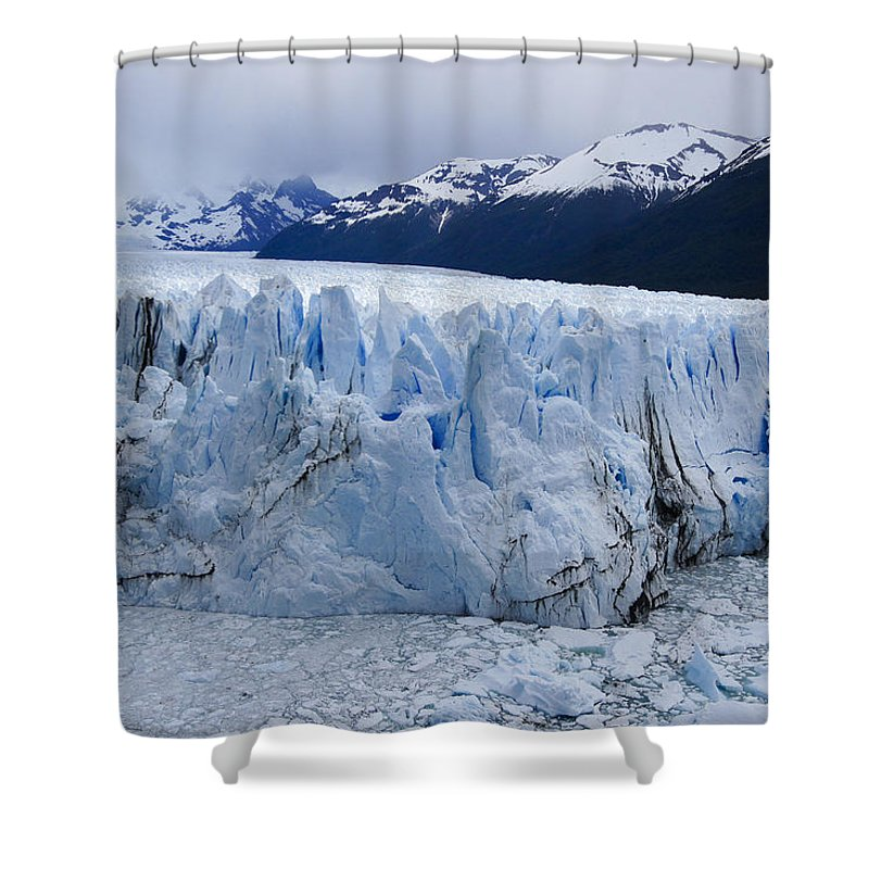 Argentina Shower Curtain featuring the photograph The Glacier Advances by Michele Burgess